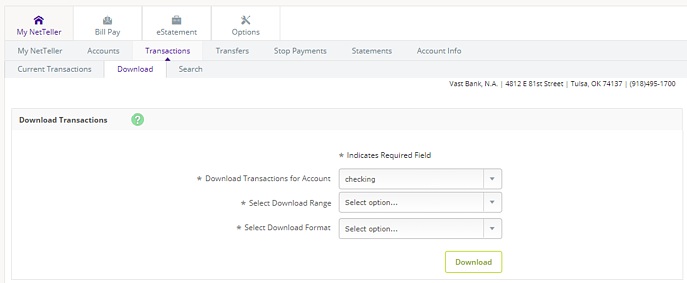 Vast-NetTeller-7-Transaction-Download