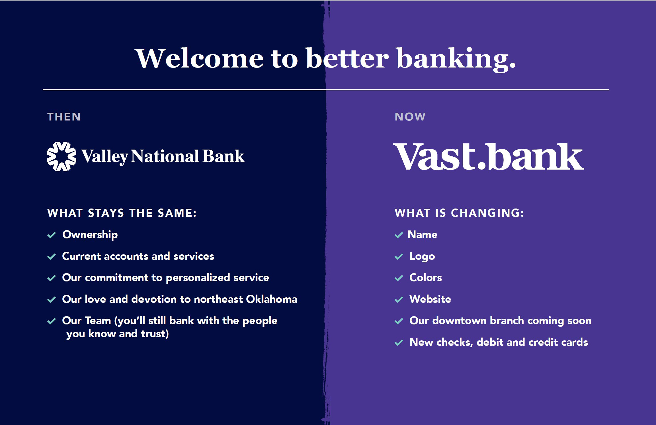 vast bank what is changing V2